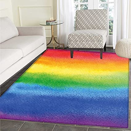 Amazon Com Rainbow Rugs For Bedroom Work Of Art With Vivid Colors