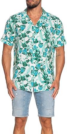 Guess - Camisa de Hombre M02H35 WCT20 PFF0 Blanca Floral ...
