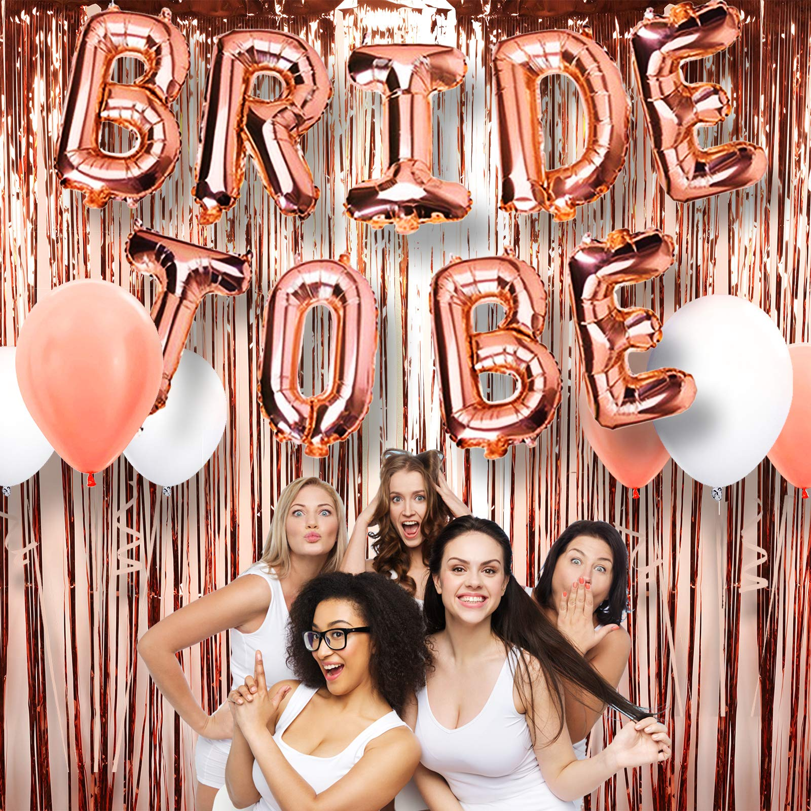"A3 DIRECT Bachelorette Party Decorations Supplies Set - 16"" Rose Gold Bride to Be Balloons Decor, Foil Fringe Curtain & 6 Piece Latex Balloons for Bridal Showers, Engagement Parties and Weddings"