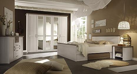 Komplett Schlafzimmer Doppelbett Bett Nakos Kleiderschrank Luca Pinie Weiss Landhaus Amazon De Kuche Haushalt