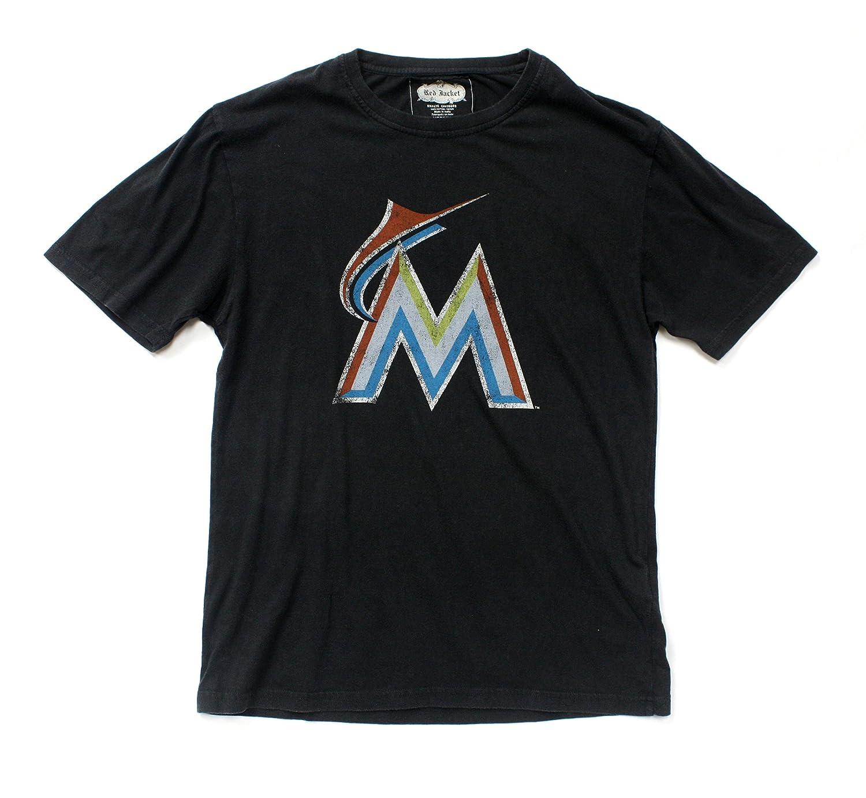 92e7a0ee Amazon.com: Red Jacket MLB Miami Marlins Retro Character Design T-Shirt  Black: Clothing