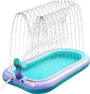 Sprinkler & Splash Pad for Kids, Large Outdoor Sprinklers Play Mat Water Play Toys Inflatable Mermaid Sprinkler Pad, Fun Play Pool for Toddlers Babies Over 3 Years Boys Girls in Garden/Backyard/Beach