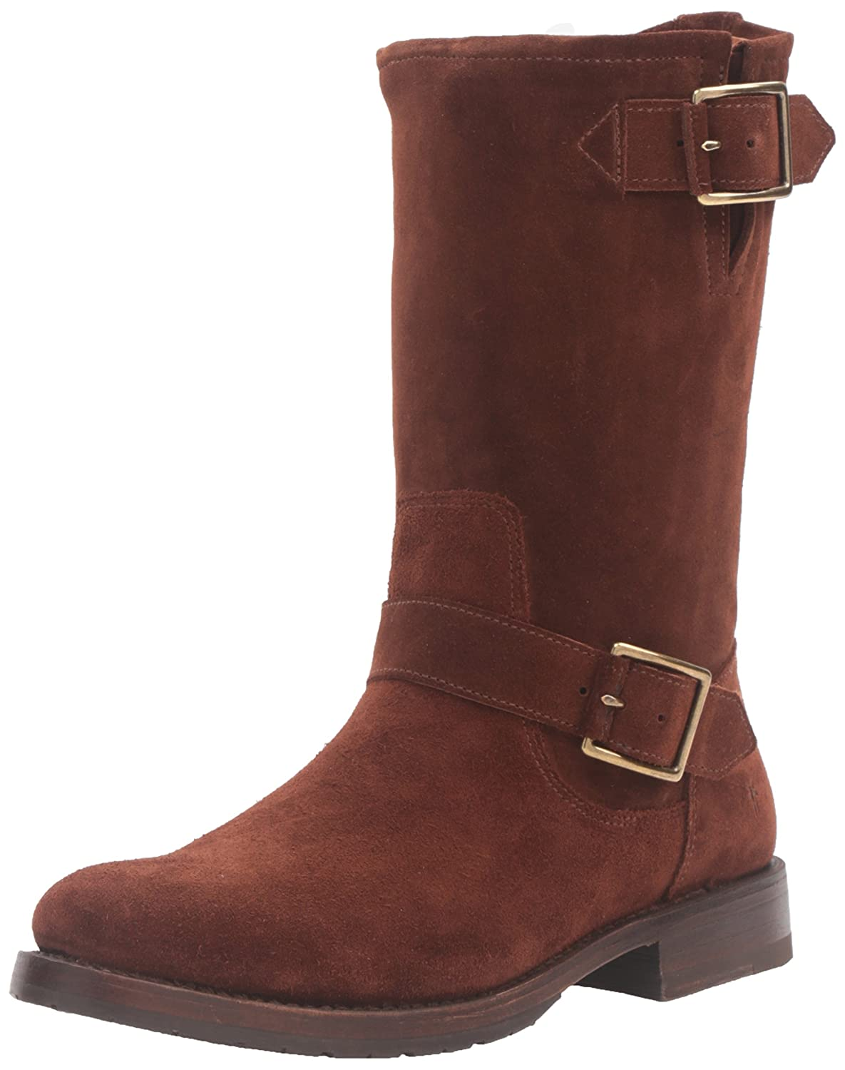 FRYE Women's Natalie Mid Suede Engineer Boot B0193YW03S 6.5 B(M) US|Brown