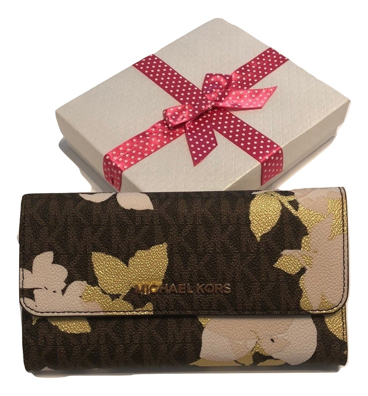Michael Kors Jet Set Travel Large Trifold Wallet Saffiano Leather (Signature MK Brown Floral)