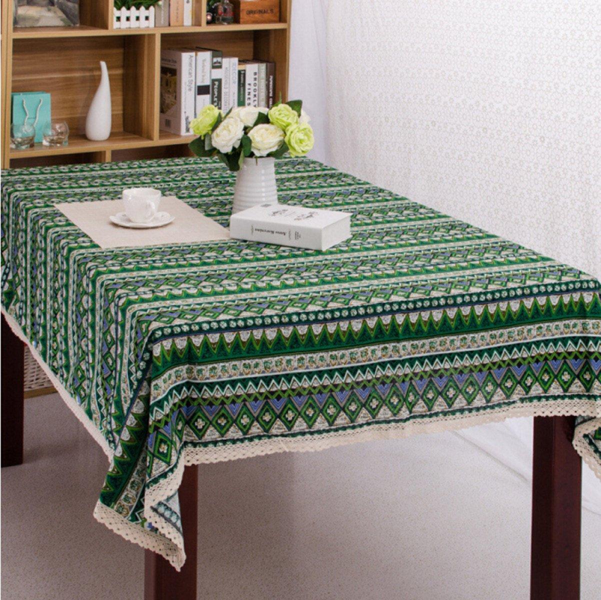 THUNFER Tischdecke Weihnachten Tischdecken Ethnische Wind Baumwolle Leinen Leinen Leinen Tischdecken Striped Restaurant Tischdecke Staubdicht,Green-55.1*70.9in ec37a5