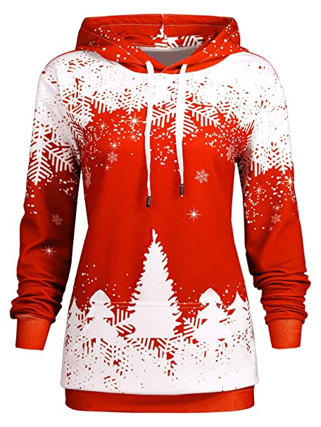 089d6009f6a83 Kenancy Women Plus Size Ugly Christmas Drawstring Kangaroo Hoodie Pullover  Sweatshirt with Pocket-Red