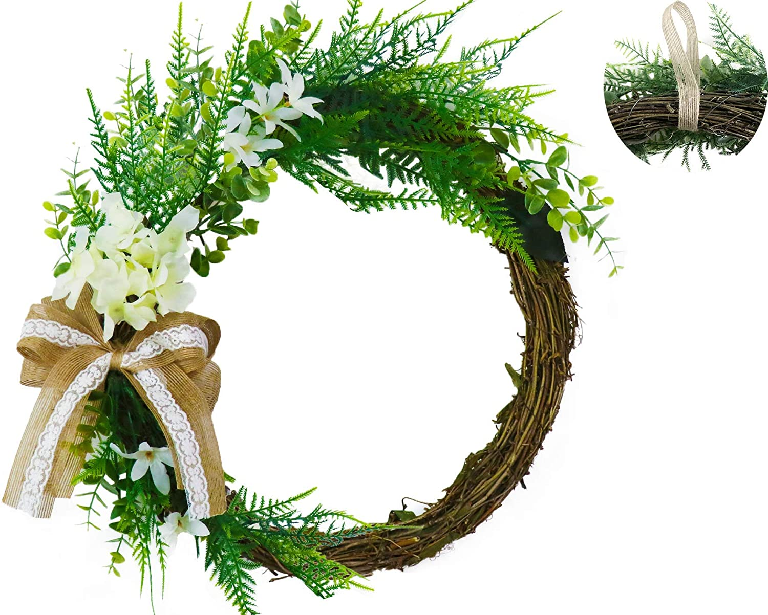 Abloomtouch Wreaths for Front Door - 16,5 inch Realistic White Hydrangea Artificial Summer Spring Wreaths for Front Door - Green Boxwood Wreath for Door Decor - Farmhouse Wreath - Greenery Wreath