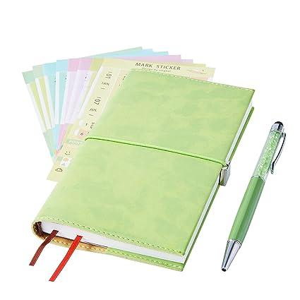 2019 Monthly Planner with Index Sticks Ballpoint Pen, Agenda Book to Achieve Your Goals Pocket Calendar 2019-2020 for Better Working Efficiency (Grass ...