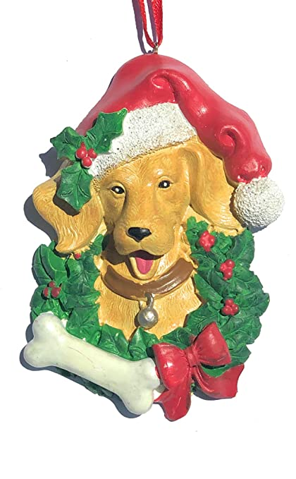 golden retriever dog in wreath with santa hat and bone christmas ornament dog lovers christmas