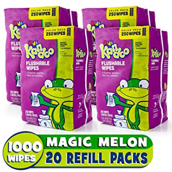 Pampers Kandoo Flushable Toilet Wipes Magic Melon 250 Count Refills (Pack of 4) Baby Wet Wipes at amazon