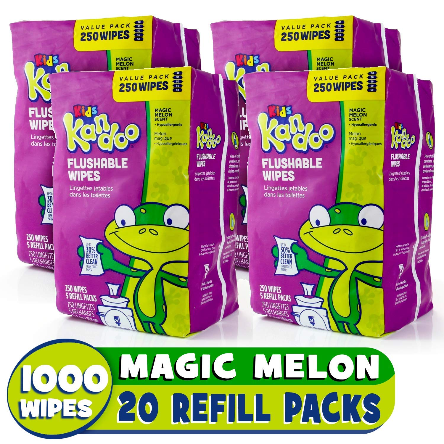 Flushable Baby Wipes for Kids, Magic Melon by Kandoo, Potty Training Wet Cleansing Cloths Refills, 250 Count per Pack, Pack of 4 by Kandoo (Image #1)