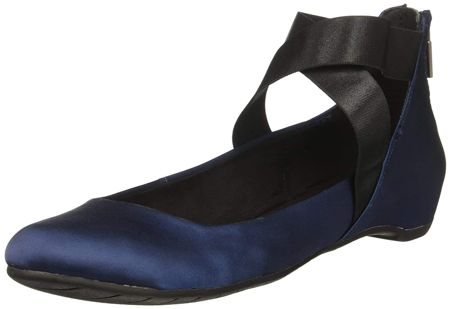 Kenneth Cole REACTION Women's Pro-Time Elastic Ankle Strap, Back Zip-Satin Ballet Flat B06WGS68KF 9 B(M) US|Navy