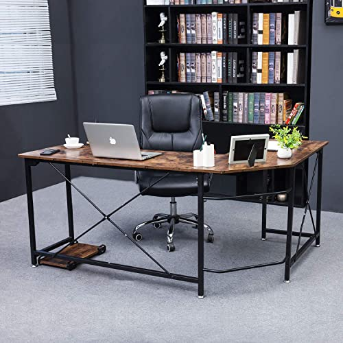 L Shaped Desk, Oudort Corner Computer Desk, 63 x19 Wood Office Study Workstation Laptop PC Table with Monitor Stand for Home Office, Studying, Gaming, Metal Frame,1 Piece
