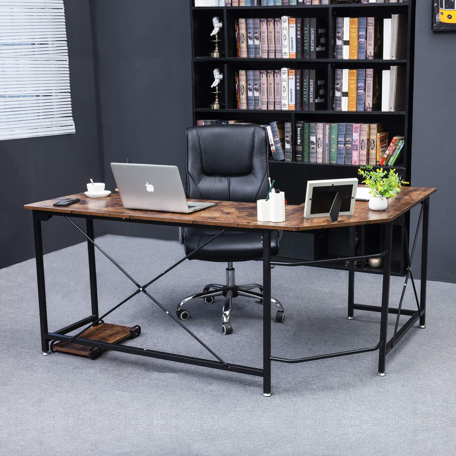 Oudort Corner Desk L Shaped Computer Desk Gaming Table PC Workstation with Stand for Home Office, Super Sturdy Design Easy to Assemble, Rustic Brown