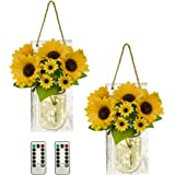 TenXVI Designs Sunflower Mason Jar Wall Sconces, Set of 2, with Remote Controlled LED Fairy Lights - Perfect Country, Primiti