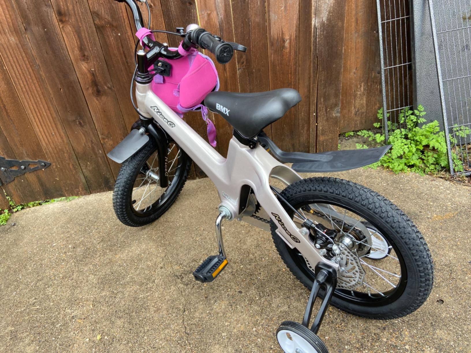 Nice C BMX Kids Bike with Dual Disc Brake, Training Wheels (champagne) photo review