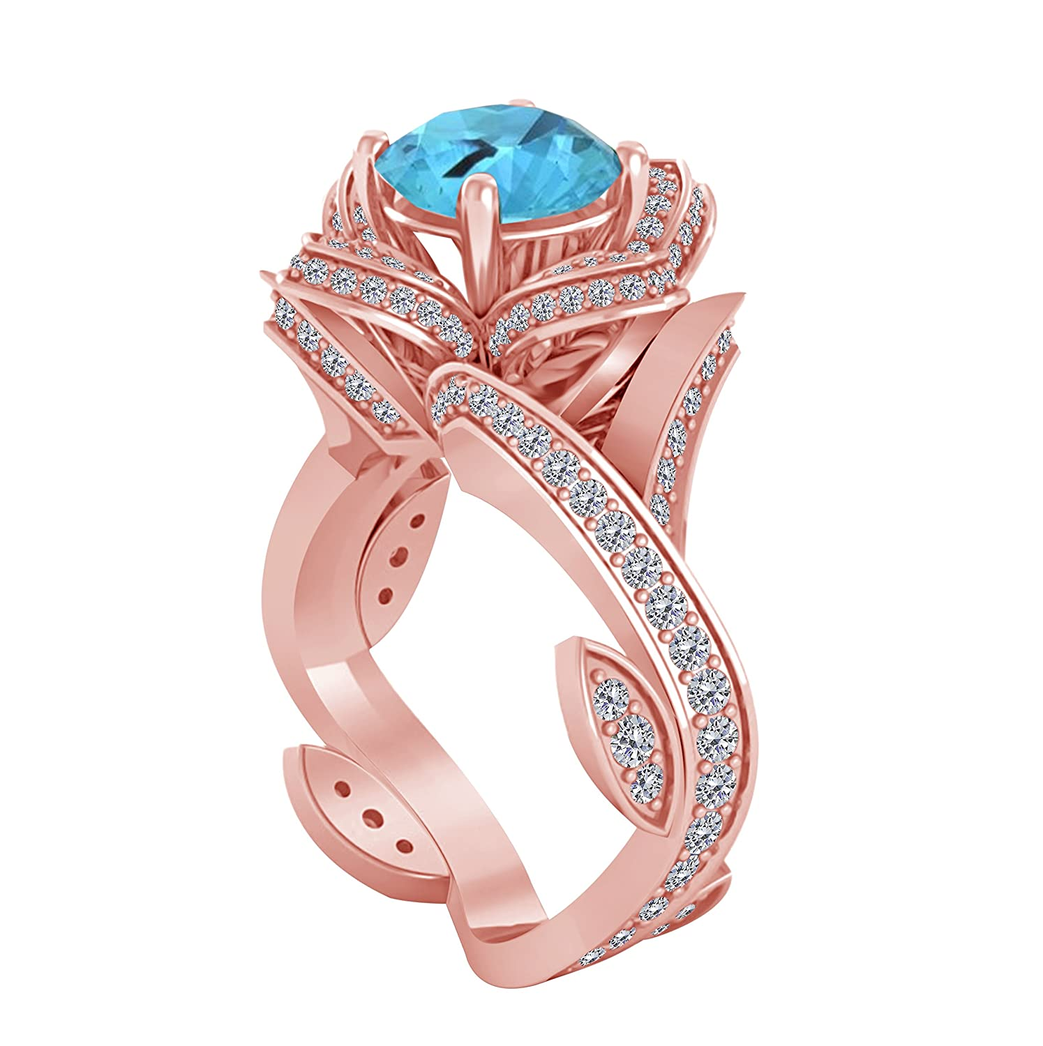 Amazon.com: 14K Rose Gold Plated 2.00ct Blue Topaz & CZ Diamond ...