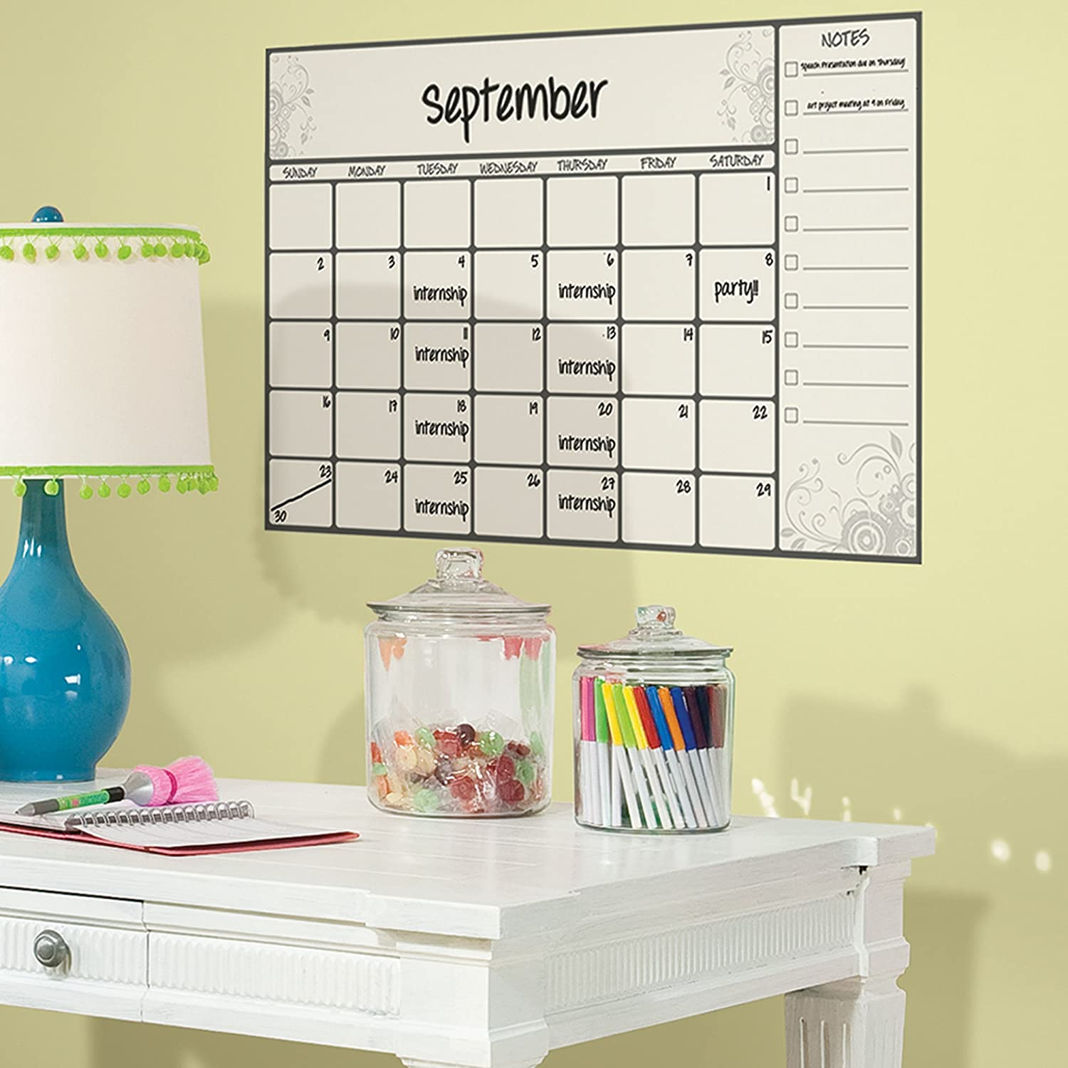 RoomMates RMK2477SLM Scroll Dry Erase Calendar Peel And Stick Wall Decals,  1 Pack   Decorative Wall Appliques   Amazon.com Part 57