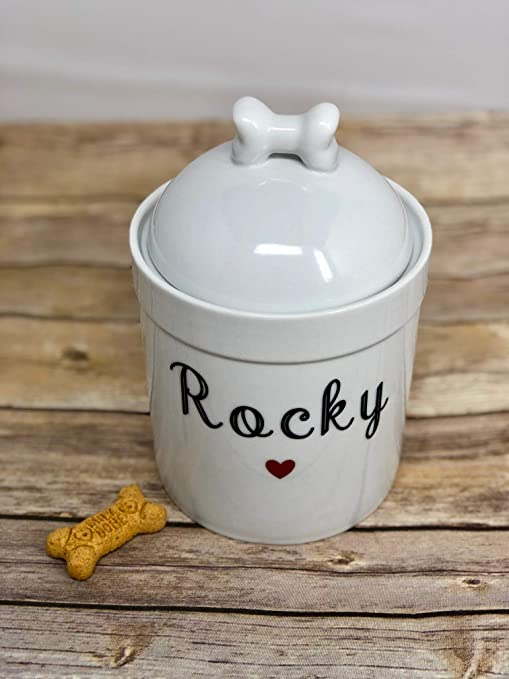 1a4b1f8b9b86 Pucci Pet Apparel Personalized Dog Treat Jar and Canister with Name and  Heart - Dog Bone