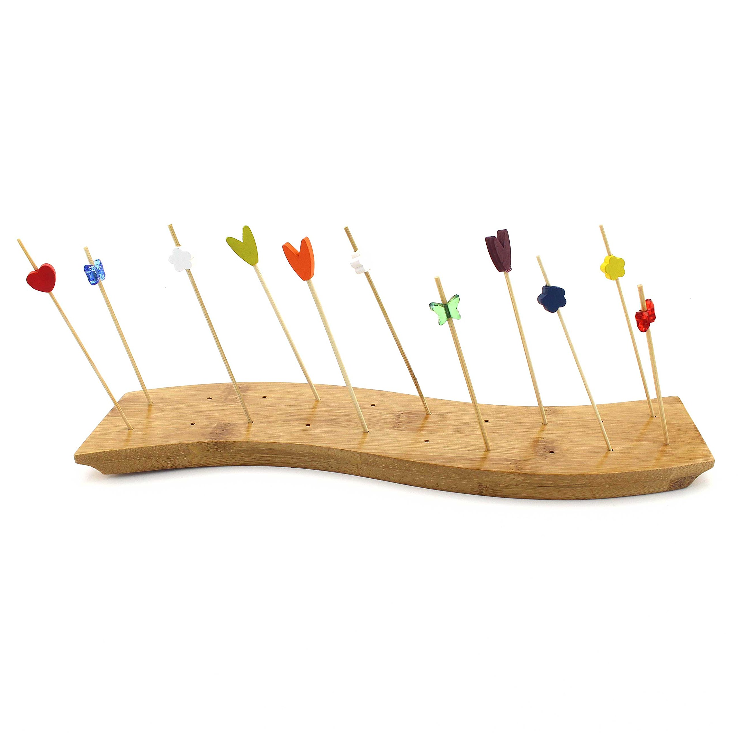 BambooMN 12'' x 3'' Bamboo Skewer Holder Food Display S-Wave Bamboo Skewers Stand w/ 20 Holes, Natural Color - 10 Pieces