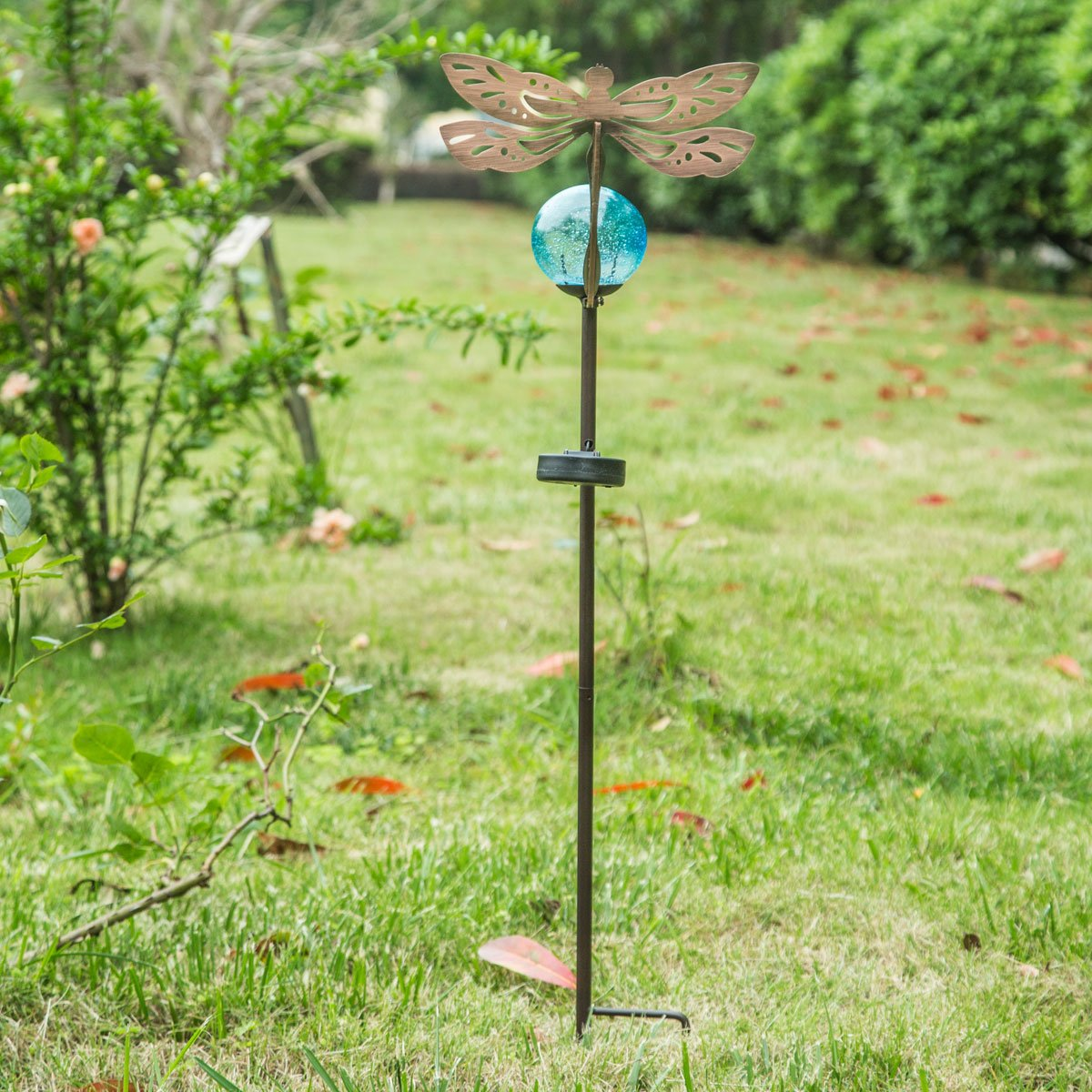 A Ting Outdoor Metal Solar Powered Garden Stake Lights with Orb and Stake,Dragonfly
