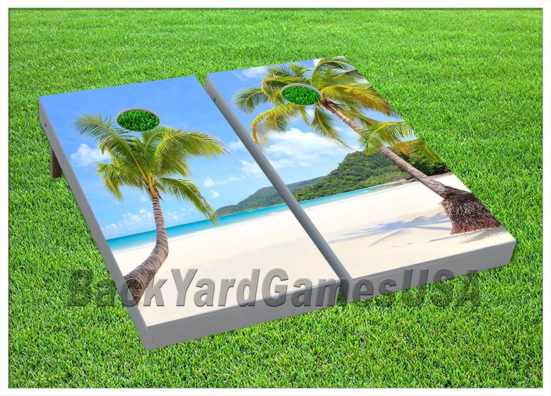 ビニールラップPalm Tree Beach Cornholeボードバッグトスゲームのステッカー64 B075MTGX6J