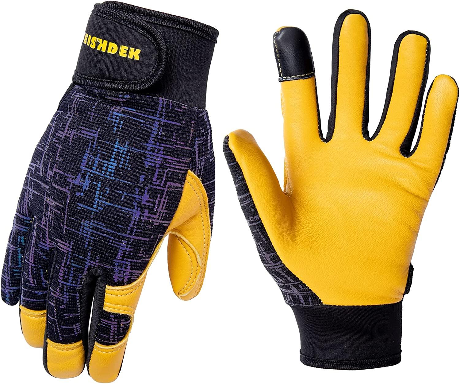 Kids Genuine Leather Work Gloves, Safety Gloves, Touch Screen, Reflective, Breathable Design, for Children Age 3-12