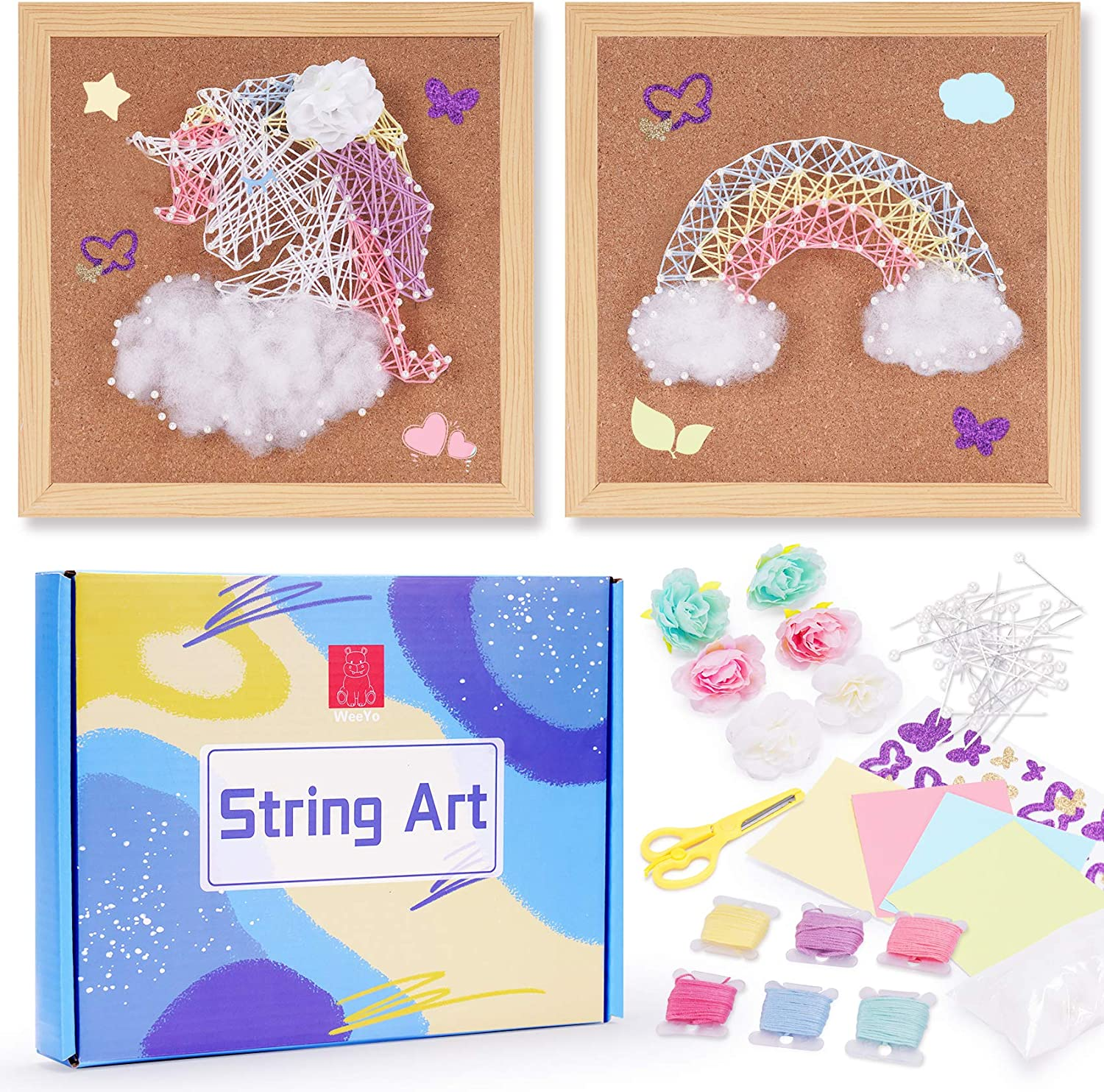 WeeYo DIY String Art Kit for 2 Fun Arts & Crafts Projects (10