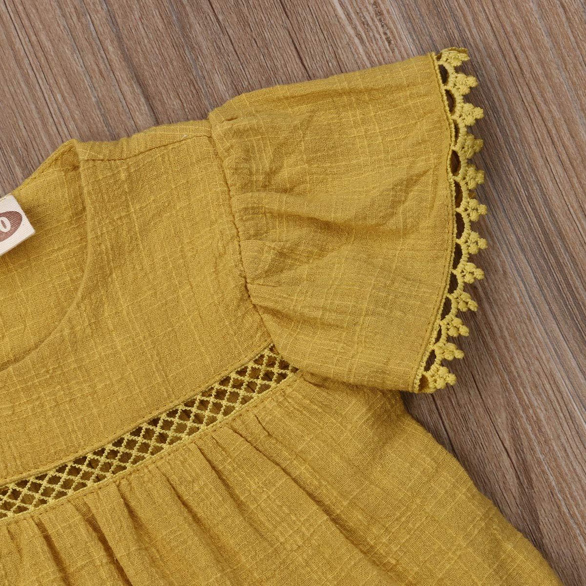 Infant Baby Girls Short Sleeve Round Neck Dress Toddler Kids Summer Yellow Loose Lace Tutu Skirt