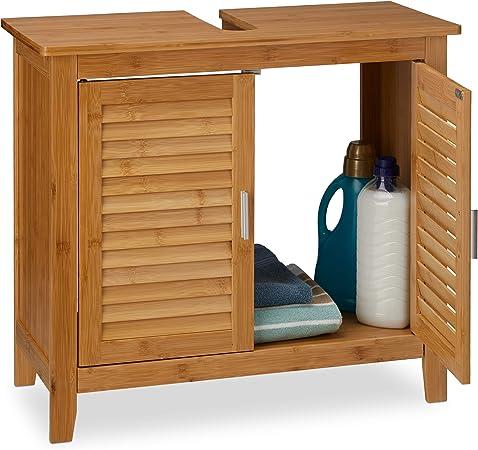 Relaxdays Mueble Lavabo LAMELL, Armario Bajo para el Baño, Bambú, 60 x 67 x 30cm, Marrón: Amazon.es: Hogar