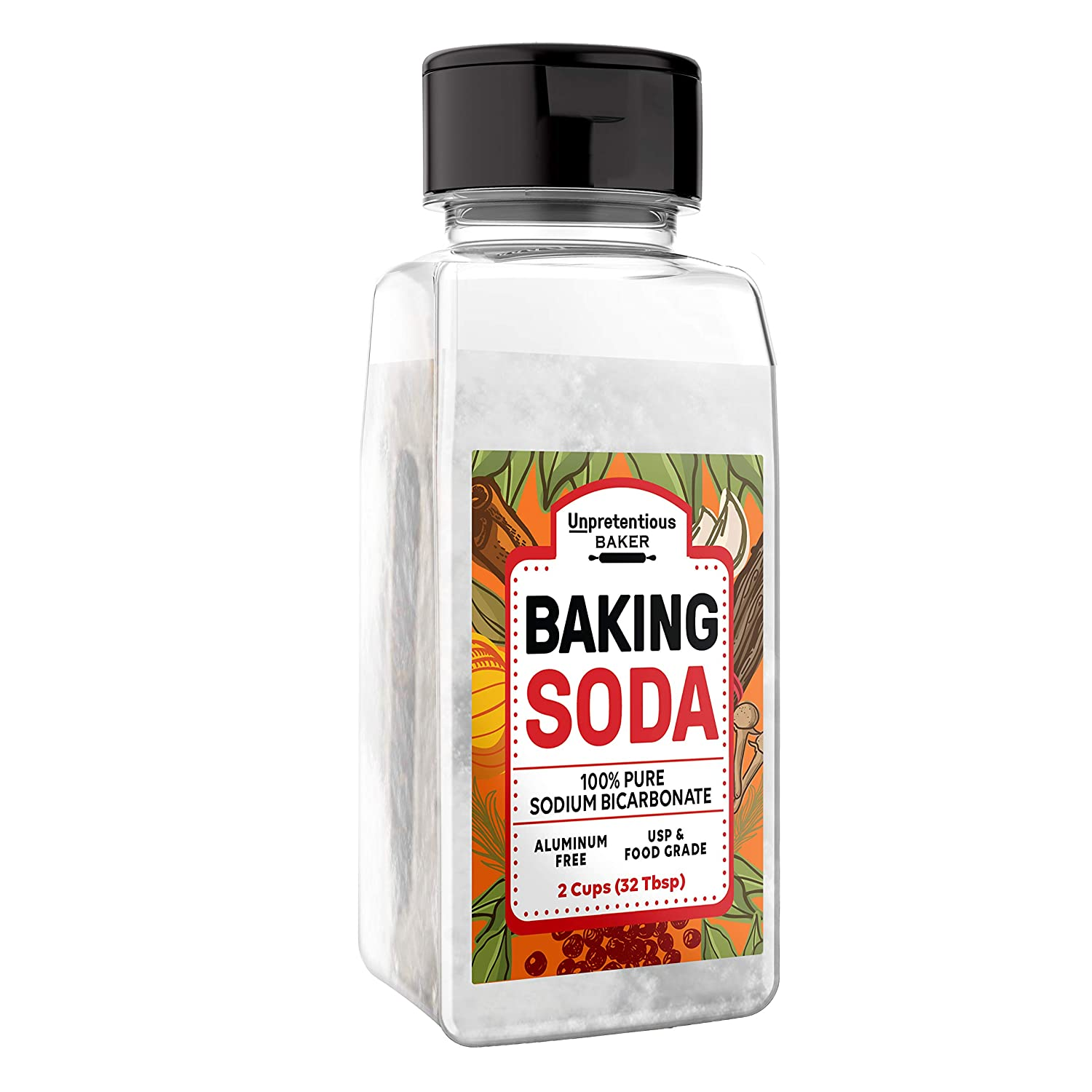 Baking Soda (2 Cups) Natural Cooking & Baking Leavening Agent, Convenient Dual-Purpose Shaker/Open Lid
