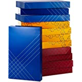 Hallmark (12 Ct: 4 Each of Color) for Christmas, Hanukkah, Valentine's Day, Birthdays Designed Shirt Boxes with Lids, Red, Bl