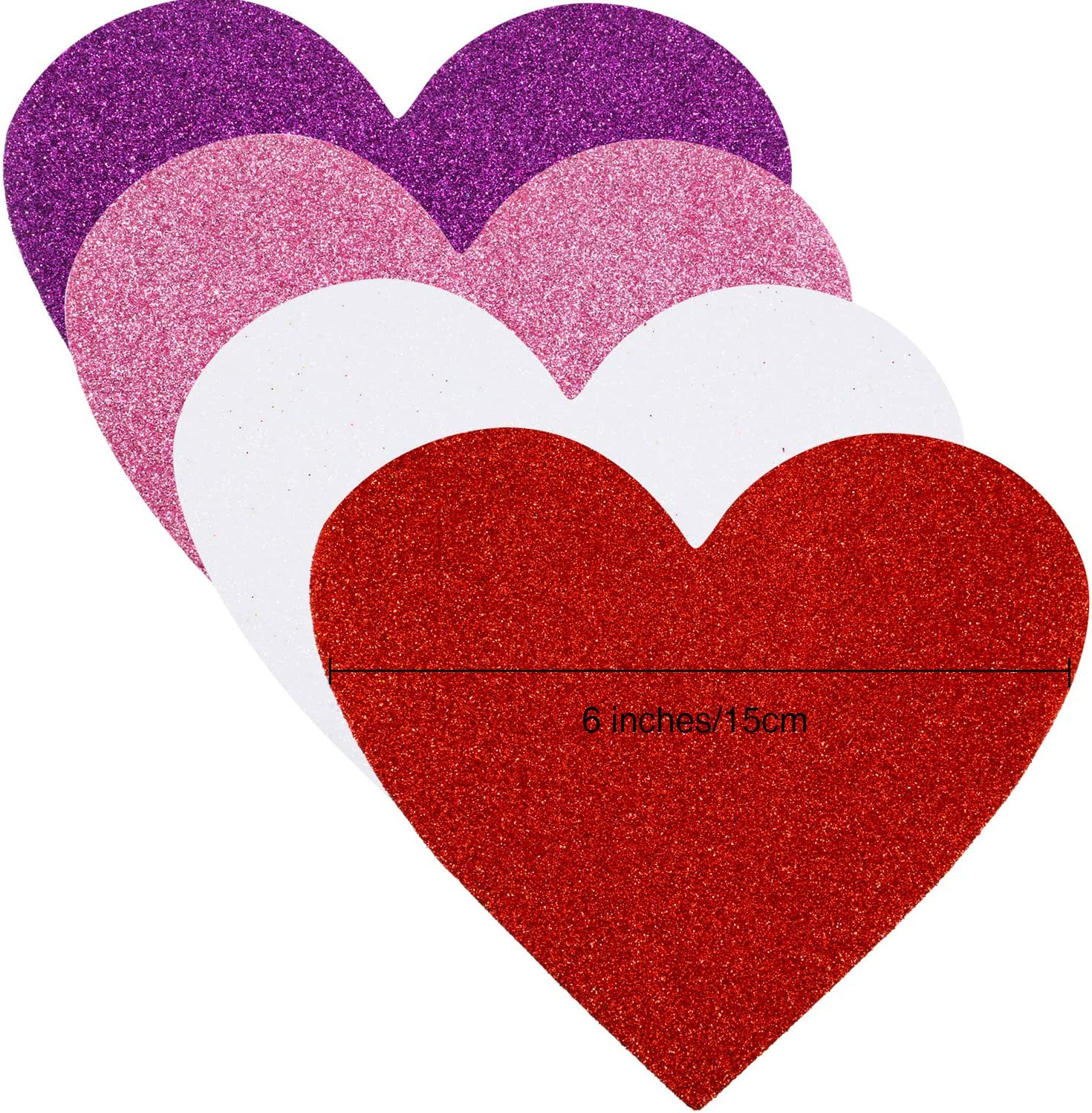 Glitter Pink, Glitter Red, Glitter White, Glitter Purple 24 Piece 6 Inches Heart Foam Stickers Large Heart Shaped Stickers Self Adhesive Heart Stickers for Valentine Mothers Day DIY Craft 4 Colors