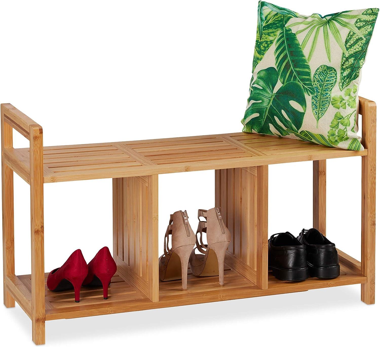 Recibidor 56 x 95 x 36 cm Natural Relaxdays Banco Zapatero de 2 Plazas con 3 Compartimentos Bamb/ú Marr/ón