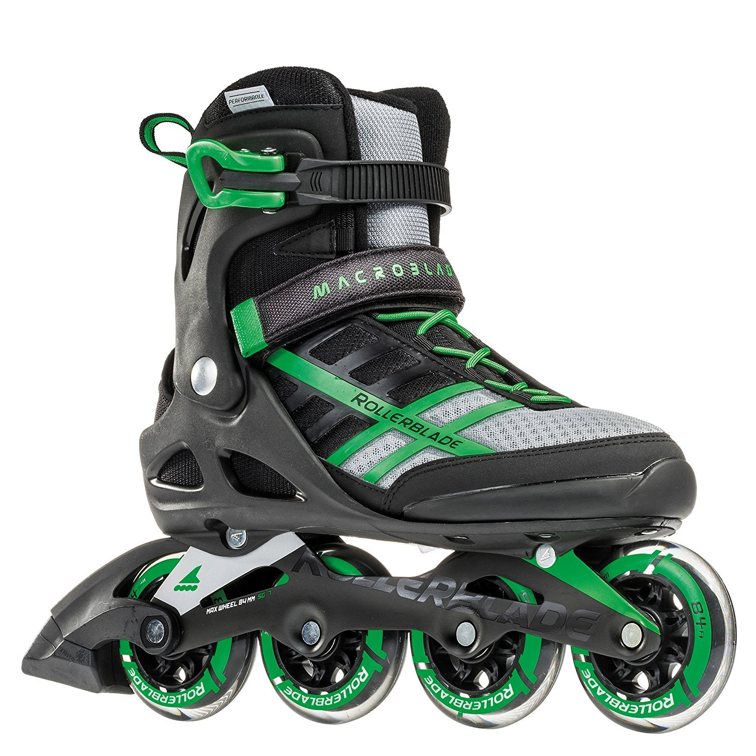 Rollerblade Rollerblade Macroblade 84 Mens Adult Fitness Inline Skate - Black/Green - 84 mm / 84A Wheels with SG7 Bearings - Performance Skates - US size 11, Black/Green, Size 11 by Rollerblade