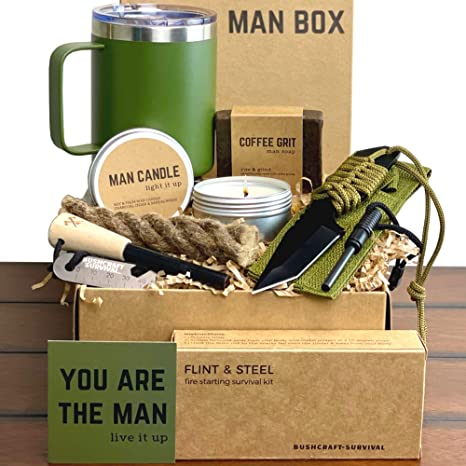 Man Gift Box | Fun Outdoor Men Gifts - Camping Ferro Rod Fire Starting Rope Knife Candle Soap & Tumbler | Guy Birthday Boxes for Adventurous Outdoorsy Guys Dad Son Boyfriend Husband