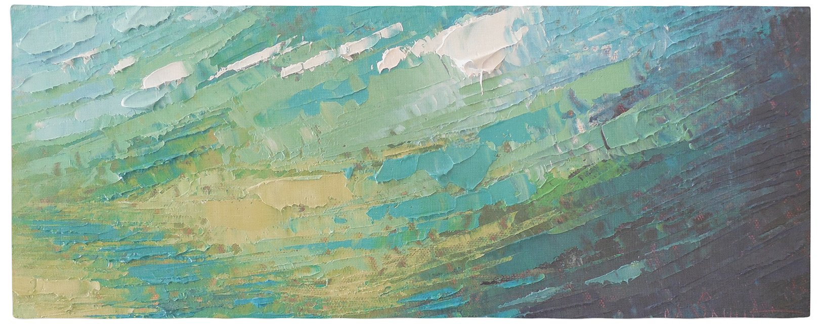 KESS InHouse CS1074ABR01 Carol Schiff ''Sea Dance'' Teal Green Painting Bed Runner, 34'' x 86''