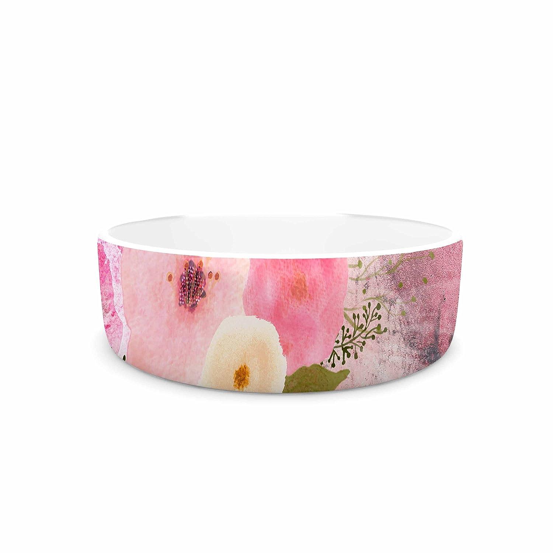 KESS InHouse Li Zamperini My Butterfly Multicolor Pink Watercolor Pet Bowl, 7  Diameter