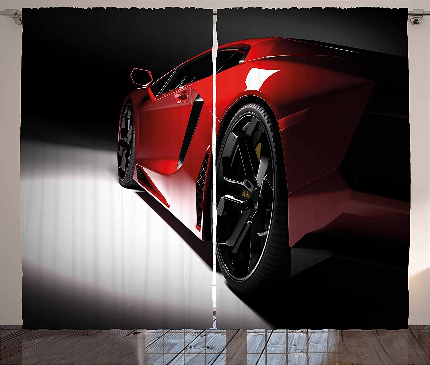 Lunarable Nursery Curtains, Modern Speed Sport Car Fancy Vivid Toned Exquisite Stylized Automobile Image, Living Room Bedroom Window Drapes 2 Panel Set, 108 W X 84 L Inches, Black and Red