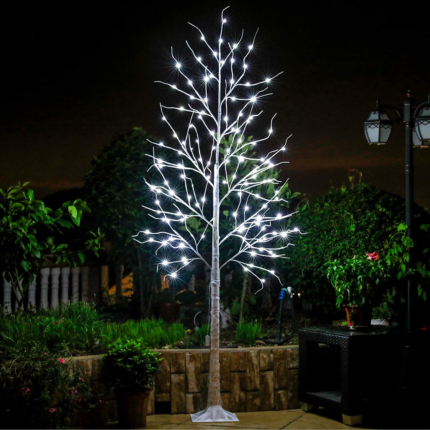 Leruckdite LED Birch Tree 8ft 136L LED Christmas Decorations Lighted Tree Decor for Bedroom/Party/Wedding/Office/Home Outdoor and Indoor Use White…