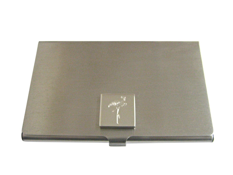Silver Toned Etchedフラミンゴ鳥ビジネスカードホルダー   B01K1FLTKI