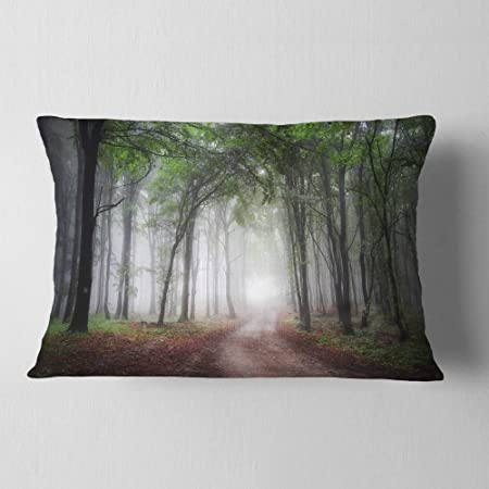 Amazon Com Designart Light Through Green Fall Forest Landscape Photography Throw Lumbar Living Room Sofa Pillow Insert Cushion Cover Printed On Both Side 12 In X 20 In Arts Crafts Sewing
