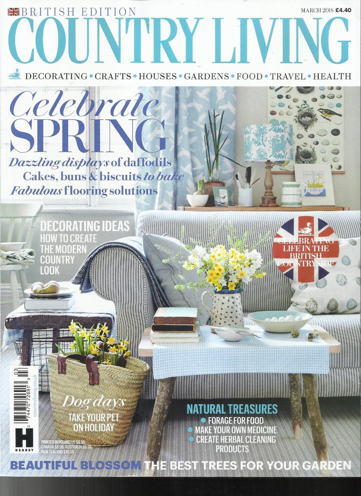 COUNTRY LIVING MAGAZINE, MARCH, 2018 BRITISH EDITION CELEBRATE SPRING
