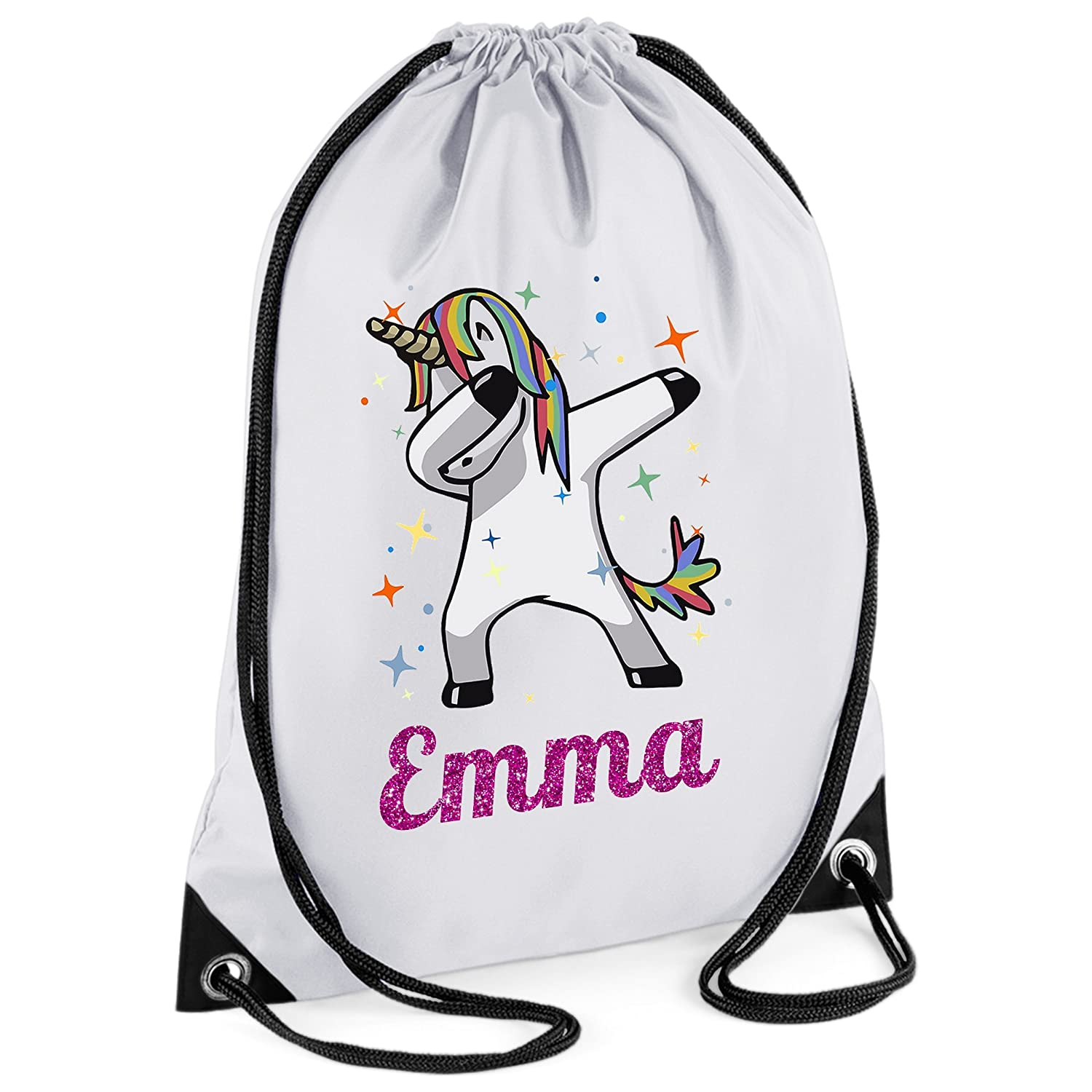 44th Street Ltd Personalised Unicorn DAB Drawstring PE Sports Swimming Gym Bag - Design 1A