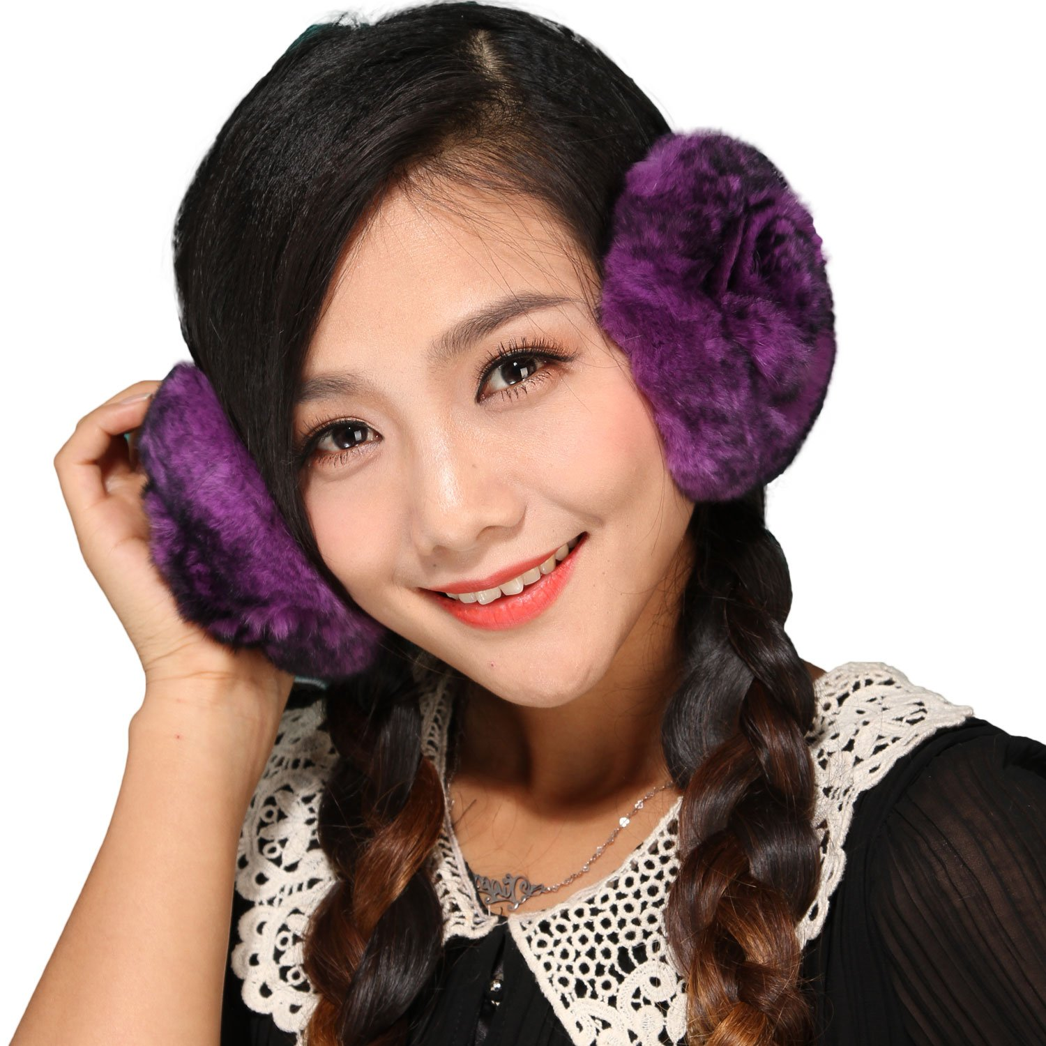 Mandy's Girl Lady's Fall Winter Rex Rabbit Fur Earmuffs