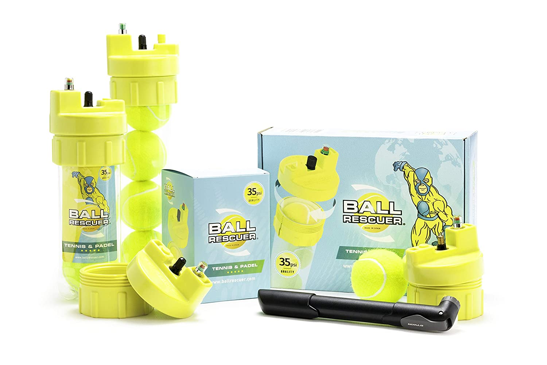 Ball Rescuer – Convierte envases de pelotas de pádel o tenis en un Bote Presurizador de 35 psi – Adaptable a envases de tres o cuatro bolas (envase no ...