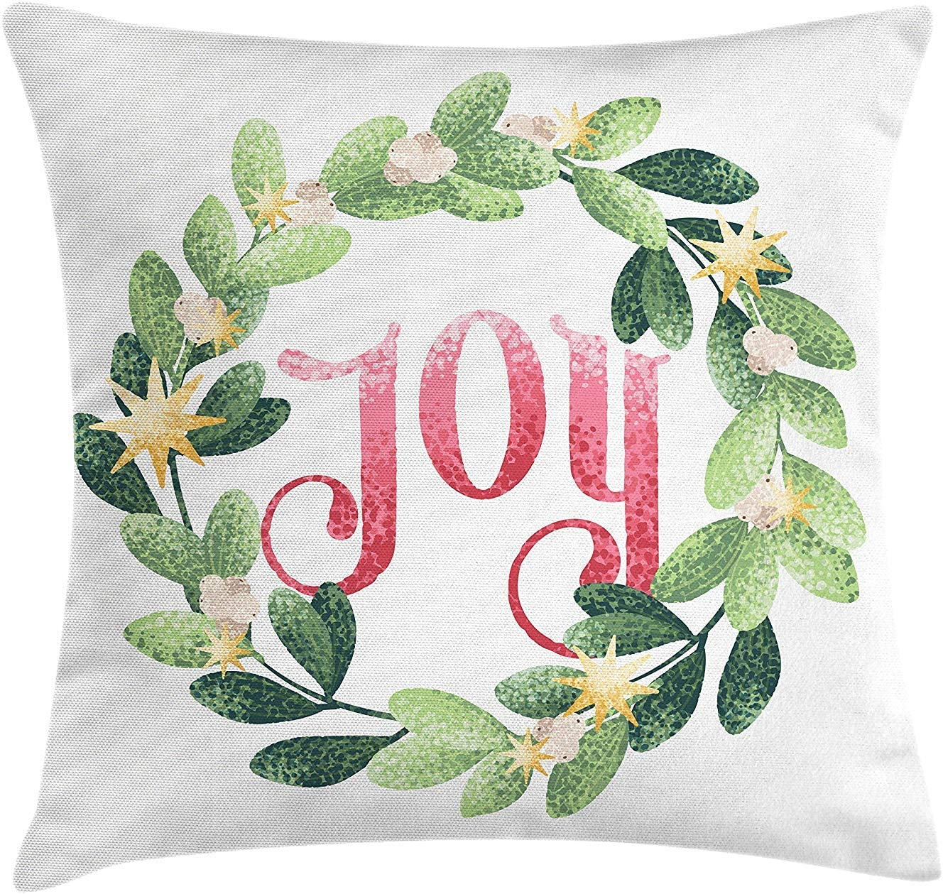 Joy Throw Pillow Cushion Cover Circle Frame Tropical Wreath With Foliage And Star And Joy Word In The Middle Decorative Square Accent Pillow Case 18 X 18 Inches Green Coral Mustard Amazon Co Uk