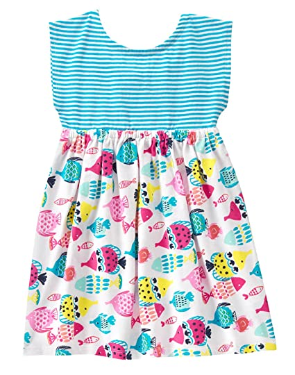 b63cd67a4 Amazon.com: Gymboree Baby Girls' Toddler Stripe Fish Print Mix Dress:  Clothing