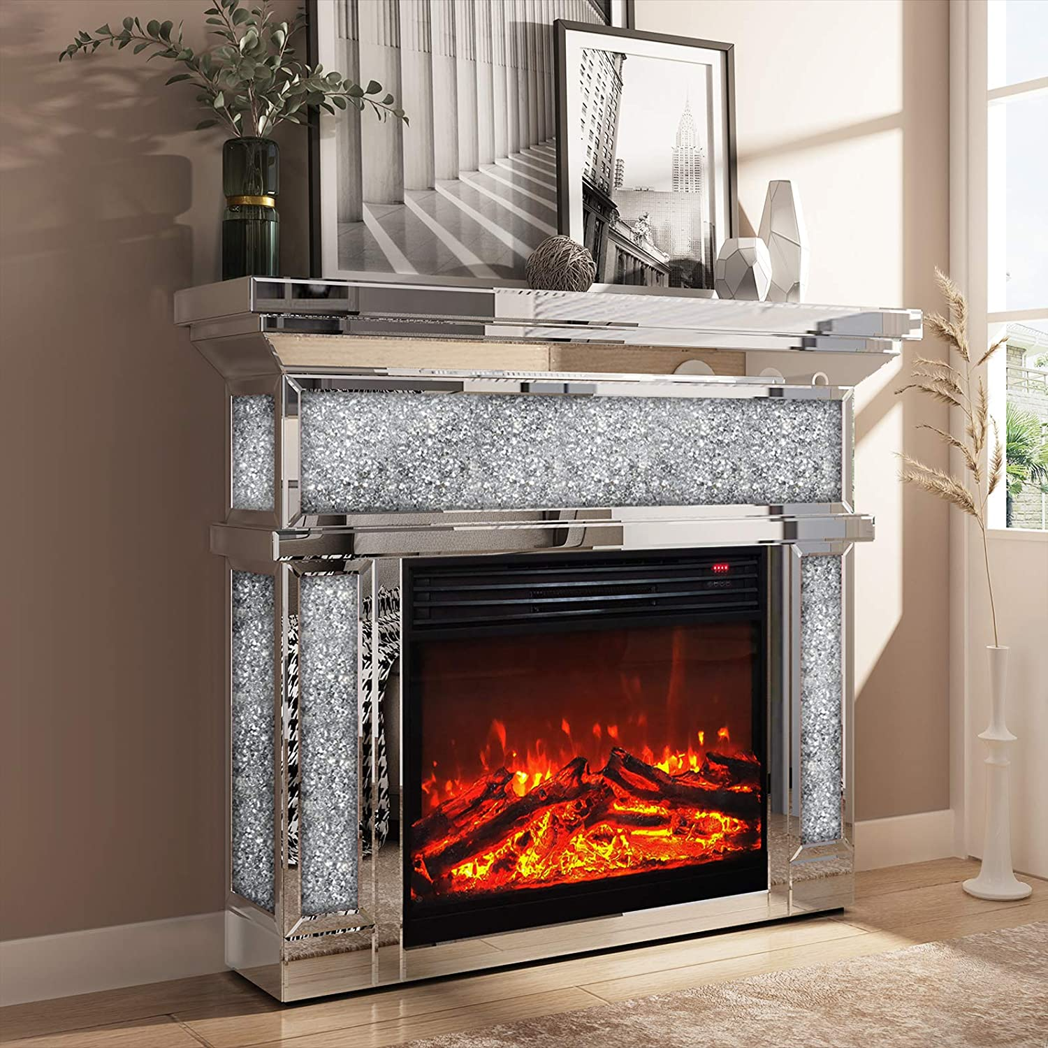 Enene Mirrored Electric Fireplace Mantel Freestanding Heater Firebox With Remote Control 3d Flame 750 1500w Furniture Decor