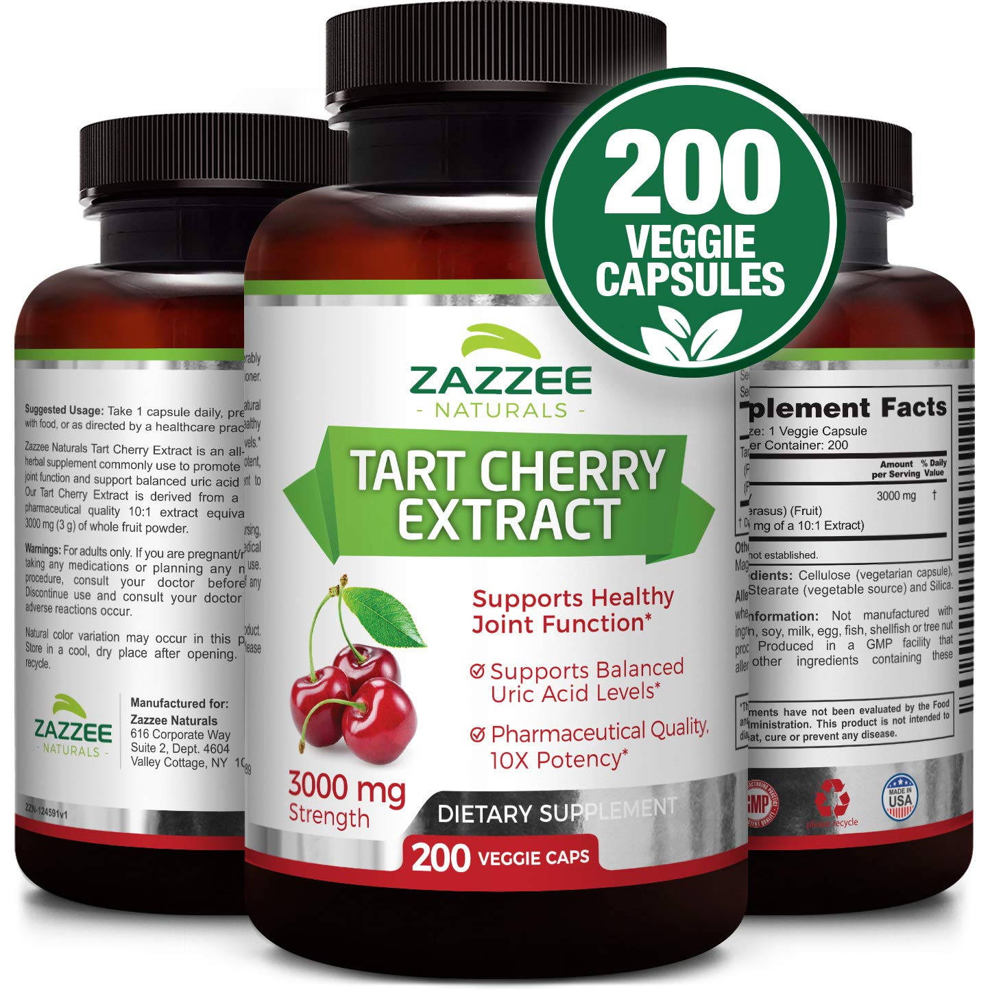 Tart Cherry Extract | 3000 mg Strength | 200 Veggie Caps | Potent 10:1 Extract | Over 6-Month Supply | Non-GMO, Vegan & All-Natural | Extra Strength Uric Acid Cleanse for Healthy Joints | Made in USA